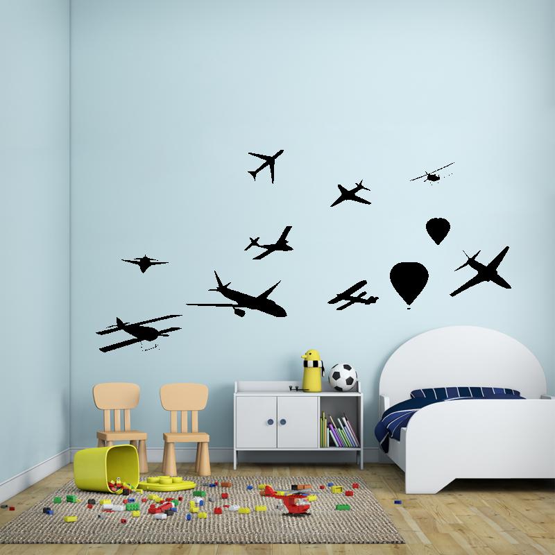 Samolepky na zeď - Samolepka na zeď - Letadla set