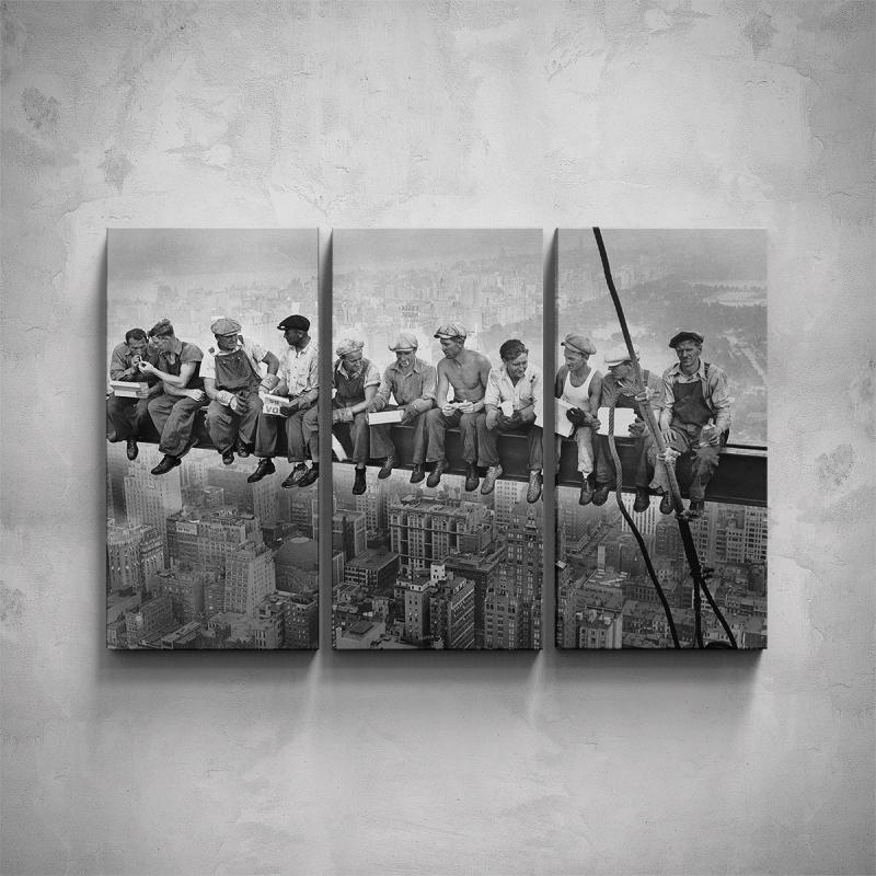 Obrazy - 3-dílný obraz - Dělníci na traverze