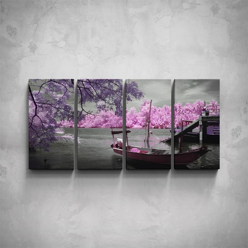 Obrazy - 4-dílný obraz - Loďka s růžovými stromy