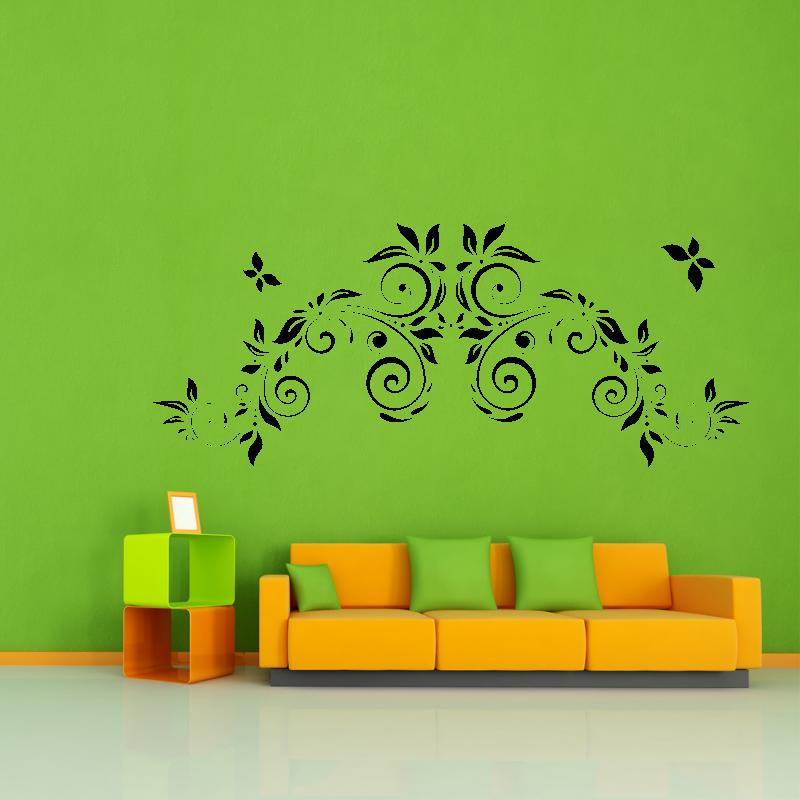 Samolepky na zeď - Samolepka na zeď- Květinový ornament s motýlky