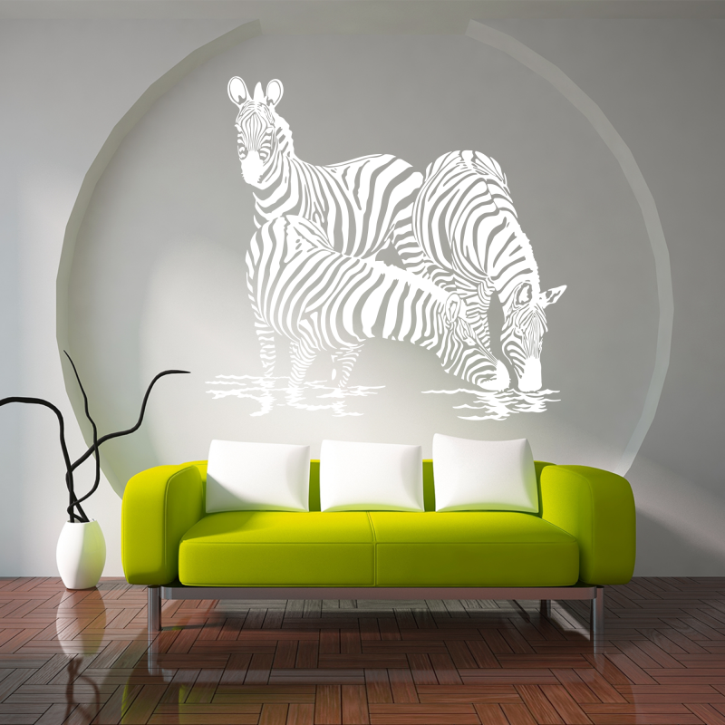 Samolepky na zeď - Samolepka na zeď - Pasoucí se zebry