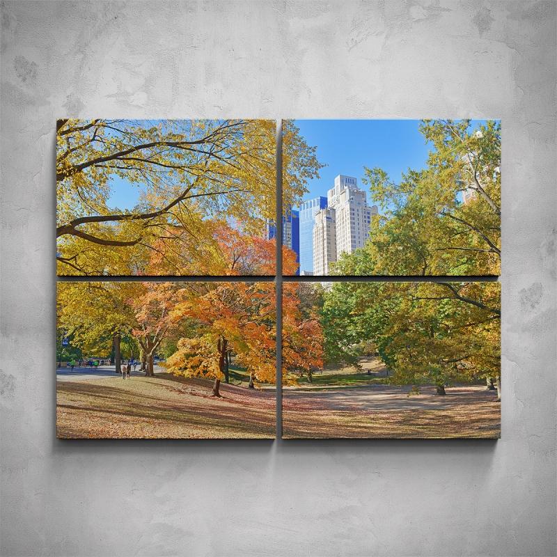 Obrazy - 4-dílný obraz - Podzimní New York