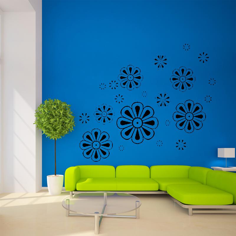 Samolepky na zeď - Samolepka na zeď - Květy set