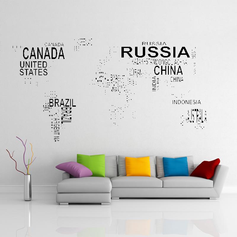 Samolepky na zeď - Samolepka na zeď - Mapa světa z textu