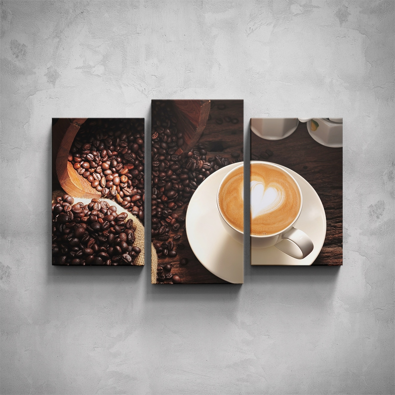 Obrazy - 3-dílný obraz - Káva