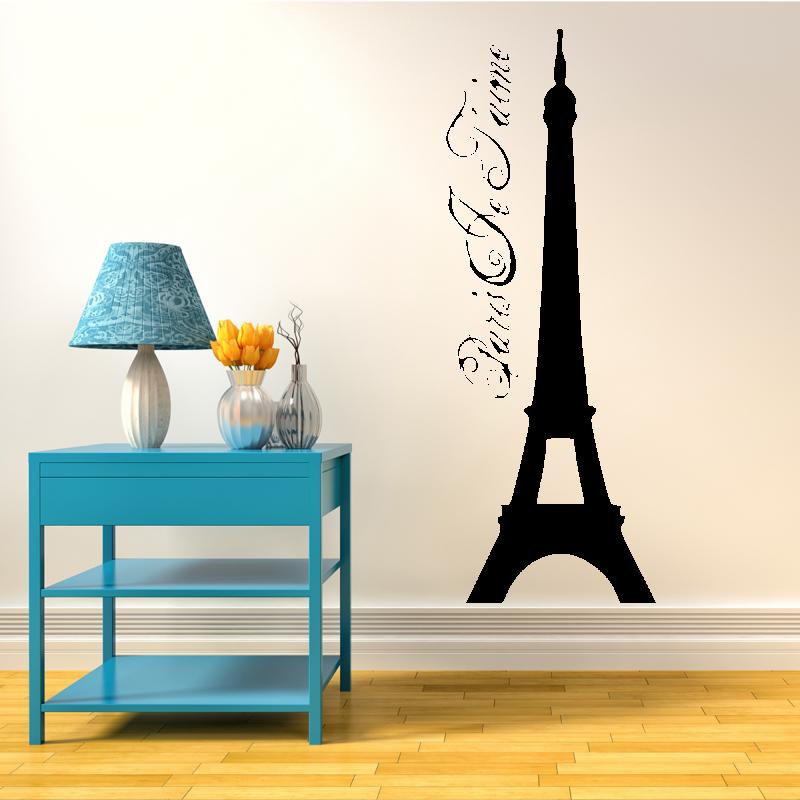 Samolepky na zeď - Samolepka na zeď - Eiffelova věž s nápisem
