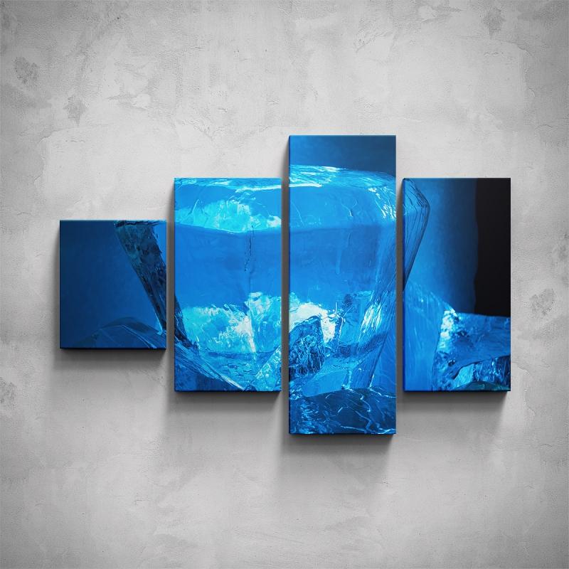 Obrazy - 4-dílný obraz - Modrý ledový krystal
