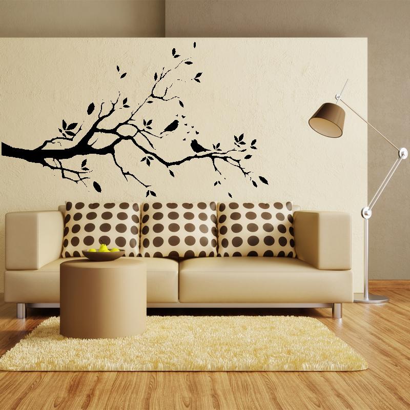 Samolepky na zeď - Samolepka na zeď - Větvička s ptáčky