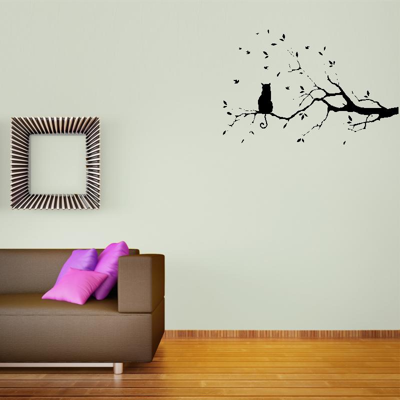 Samolepky na zeď - Samolepka na zeď - Kočka na větvičce