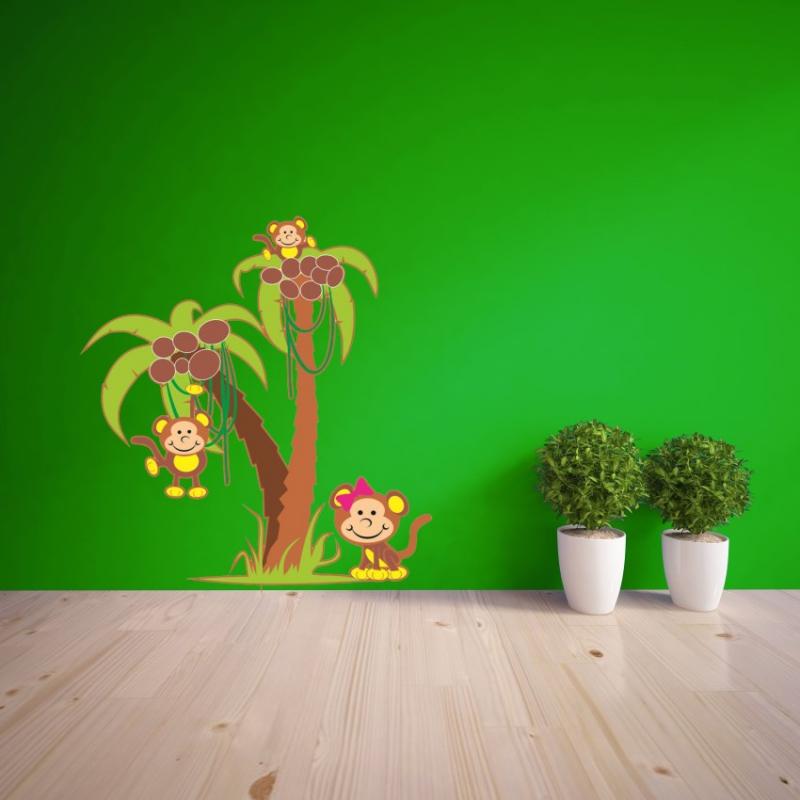 Samolepky na zeď - Barevná samolepka na zeď - Opičky na palmě