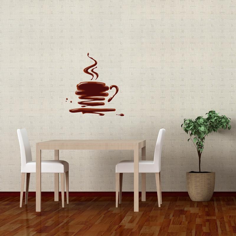 Samolepky na zeď - Barevná samolepka na zeď - Káva