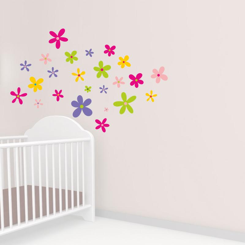 Samolepky na zeď - Barevná samolepka na zeď - Set květů