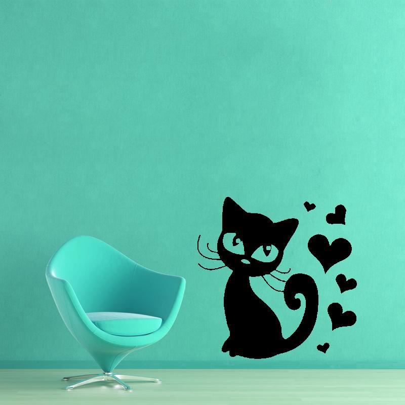 Samolepky na zeď - Samolepka na zeď - Kočička se srdíčky