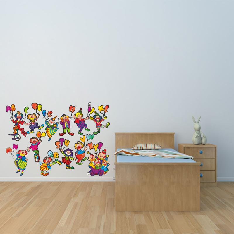 Samolepky na zeď - Barevná samolepka na zeď - Klauni abeceda