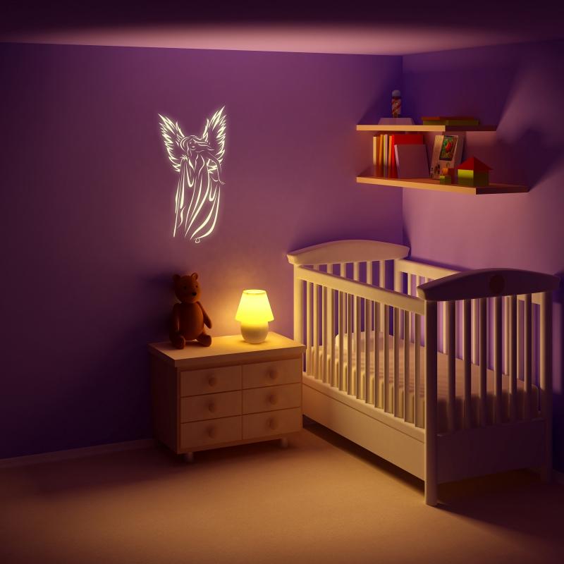 Samolepky na zeď - Svíticí samolepka na zeď - Anděl