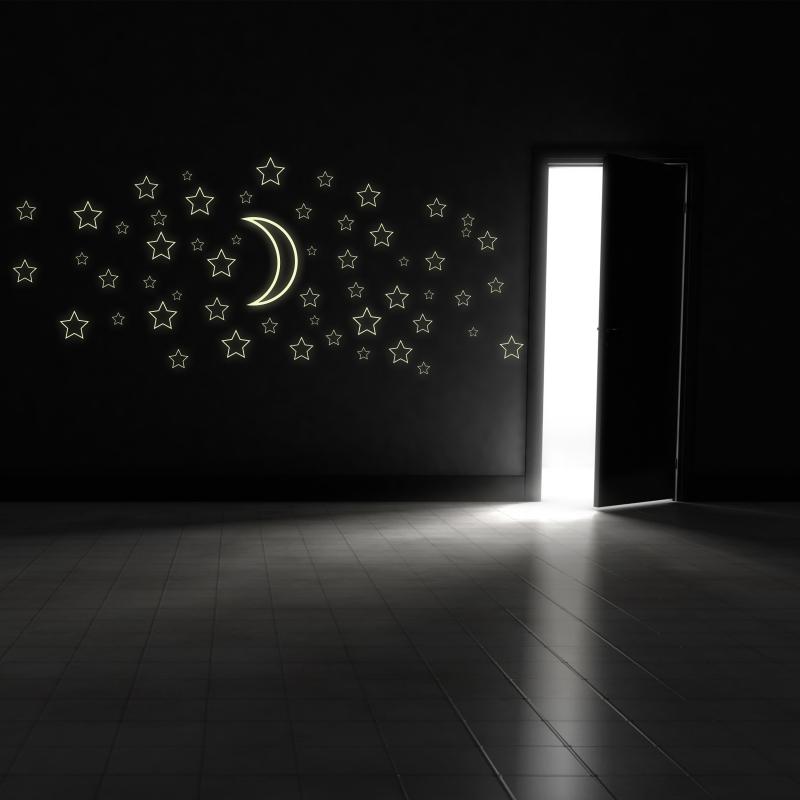 Samolepky na zeď - Svíticí samolepka na zeď - Hvězdy s měsícem (obrysy)