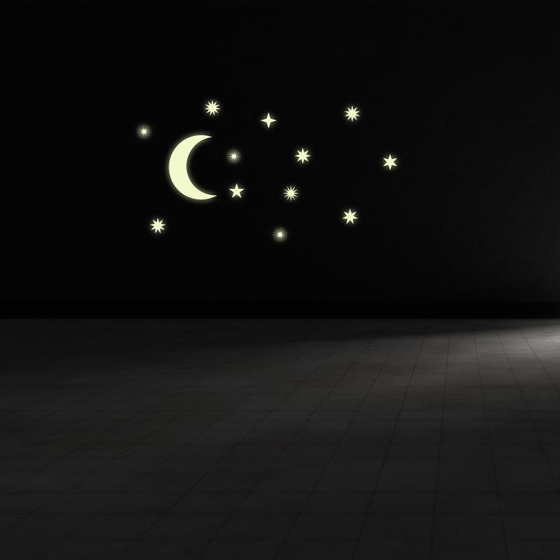 Samolepky na zeď - Svíticí samolepka na zeď - Měsíc a hvězdy art