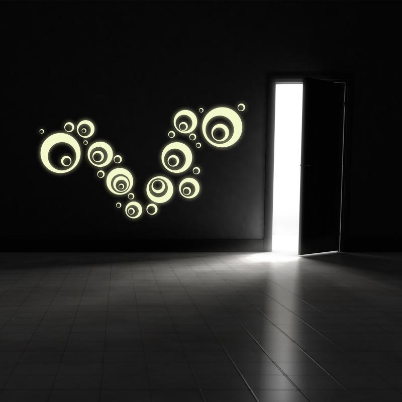 Samolepky na zeď - Svíticí samolepka na zeď - Bubliny