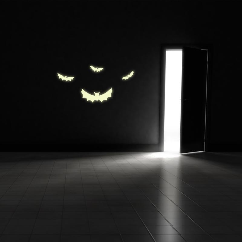 Samolepky na zeď - Svíticí samolepka na zeď - Netopýří 4 ks