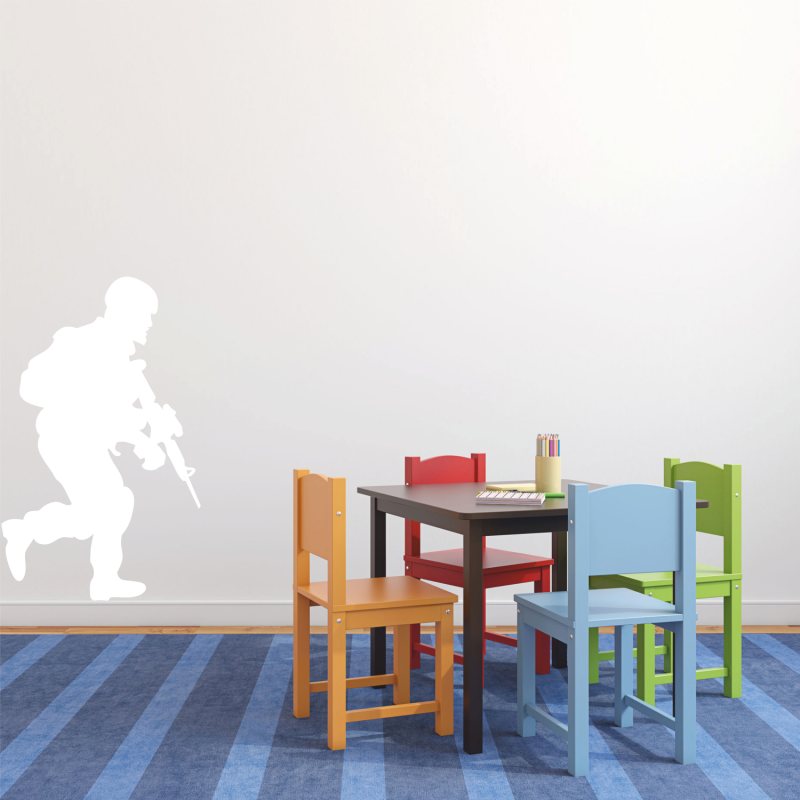 Samolepky na zeď - Samolepka na zeď - Voják s puškou