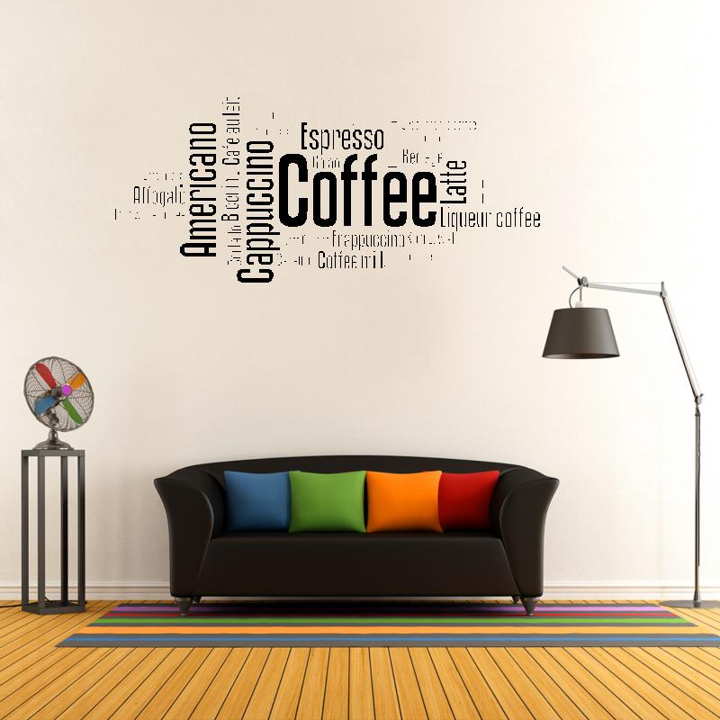 Samolepky na zeď - Samolepka na zeď - Coffee nápis