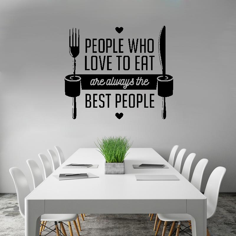 Samolepky na zeď - Samolepka na zeď - People who love to eat nápis