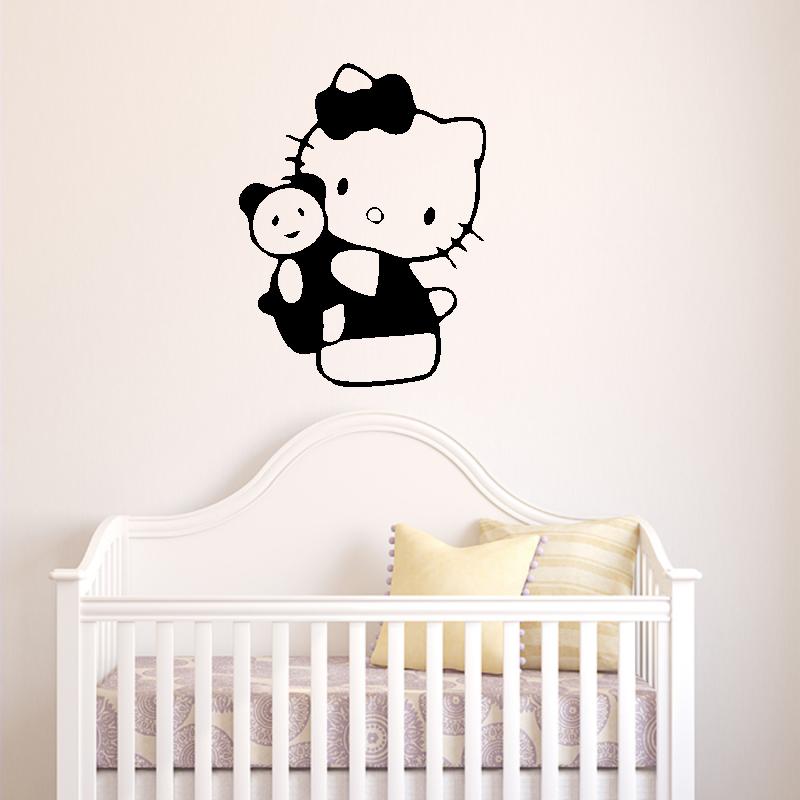 Samolepky na zeď - Samolepka na zeď - Hello Kitty s medvídkem