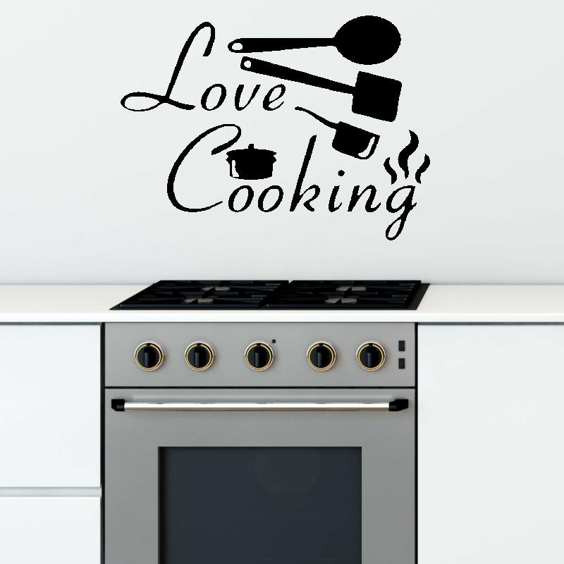 Samolepky na zeď - Samolepka na zeď - Love cooking nápis