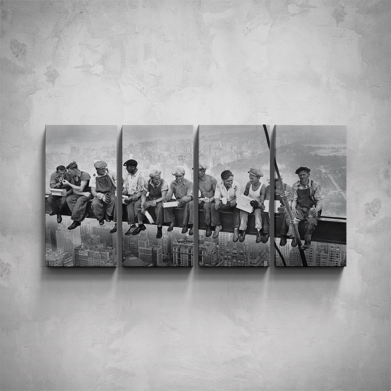 Obrazy - 4-dílný obraz - Dělníci na traverze