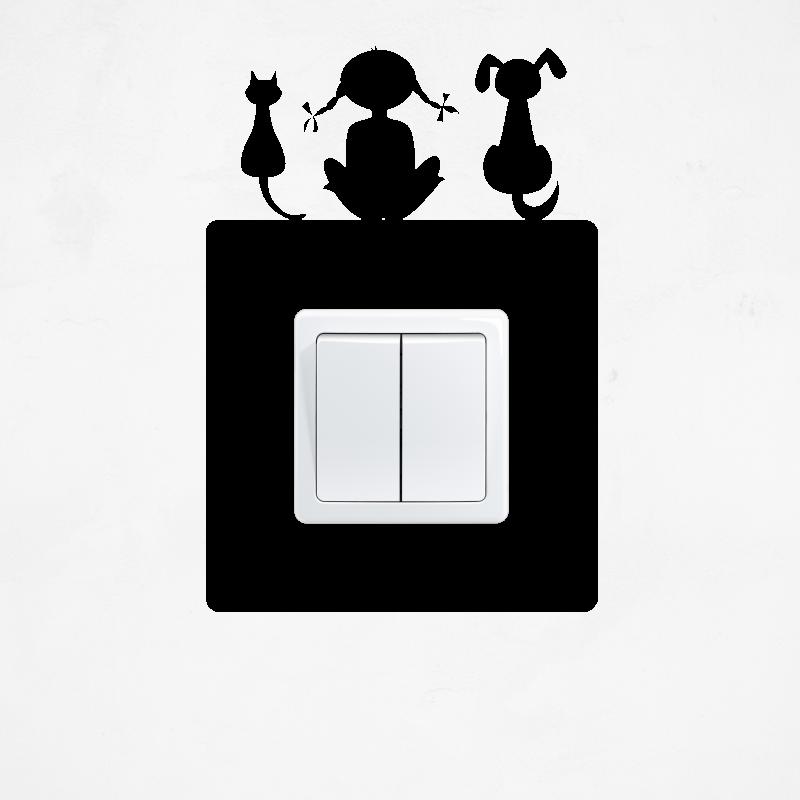 Samolepky na vypínač - Samolepka na vypínač - Zvířátka s holčičkou