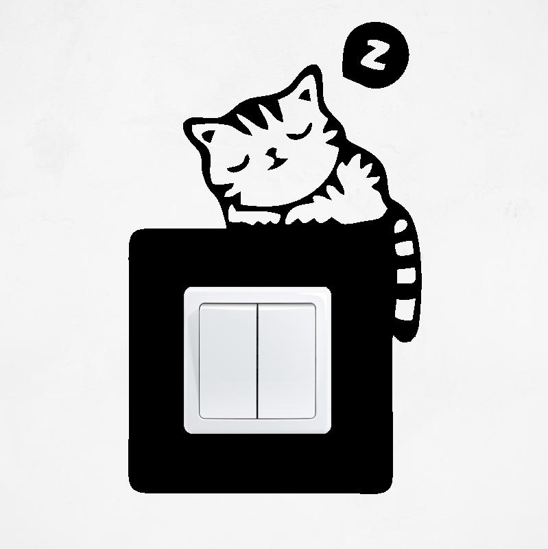 Samolepky na vypínač - Samolepka na vypínač - Spící kočka