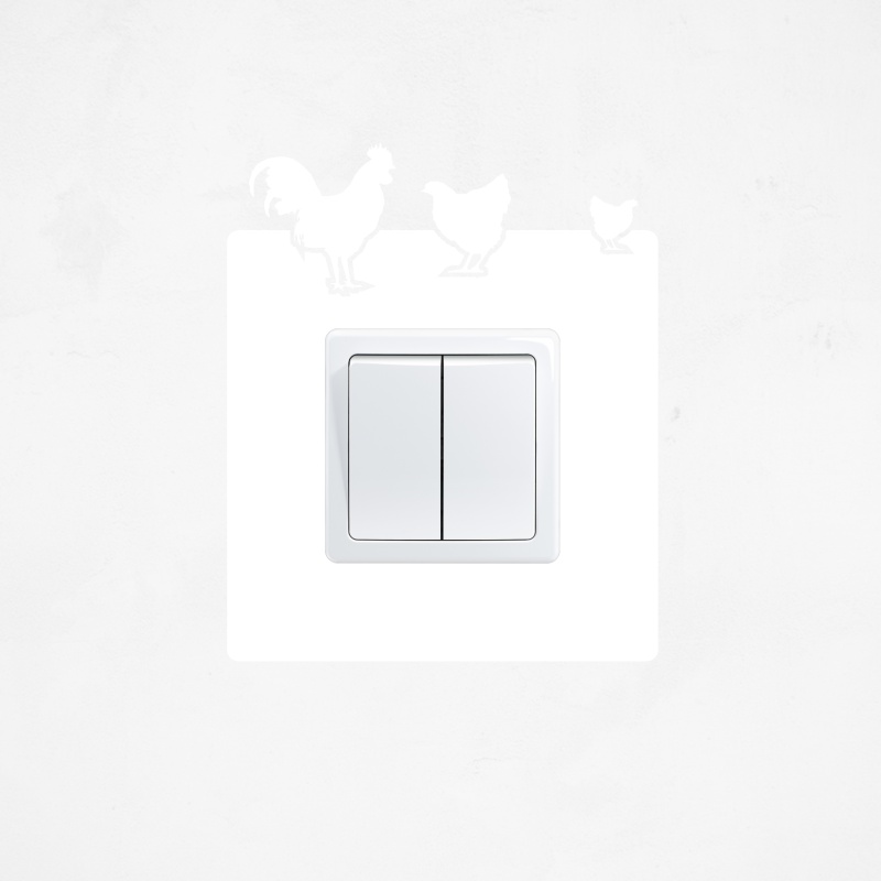 Samolepky na vypínač - Samolepka na vypínač - Kohout a slepičky