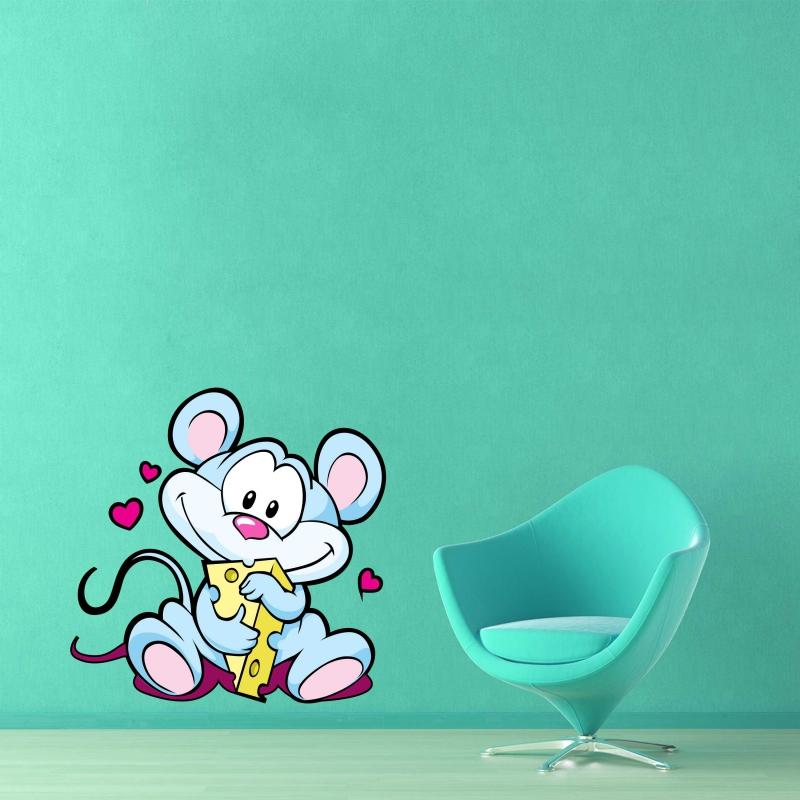 Samolepky na zeď - Barevná samolepka na zeď - Myška se sýrem