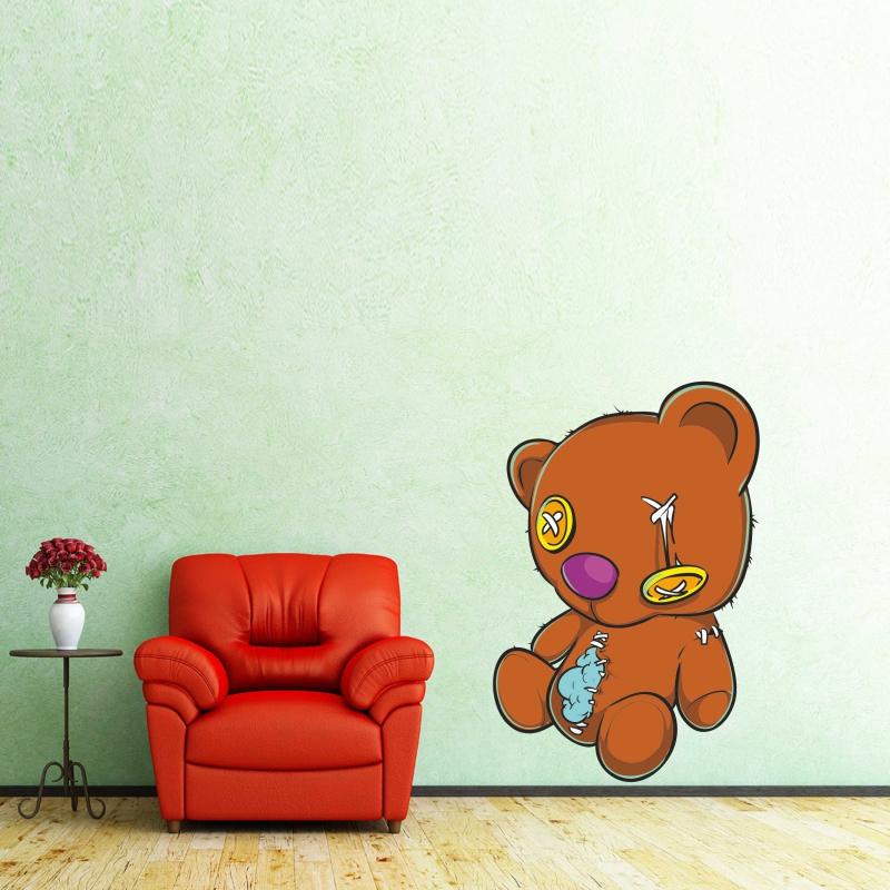 Samolepky na zeď - Barevná samolepka na zeď - Starý plyšový medvídek