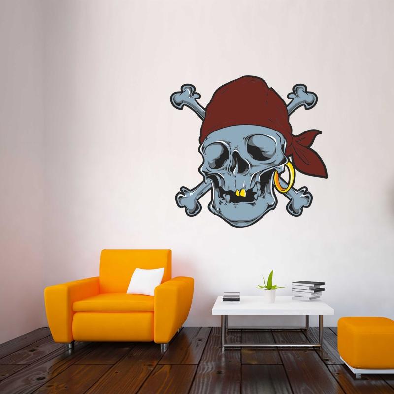 Samolepky na zeď - Barevná samolepka na zeď - Pirátská lebka