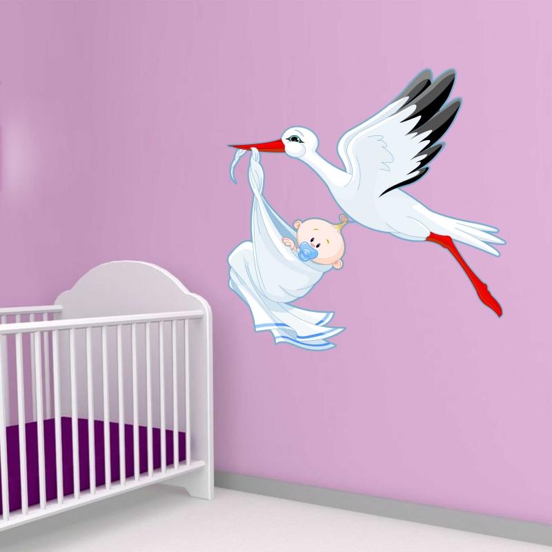 Samolepky na zeď - Barevná samolepka na zeď - Čáp s chlapečkem