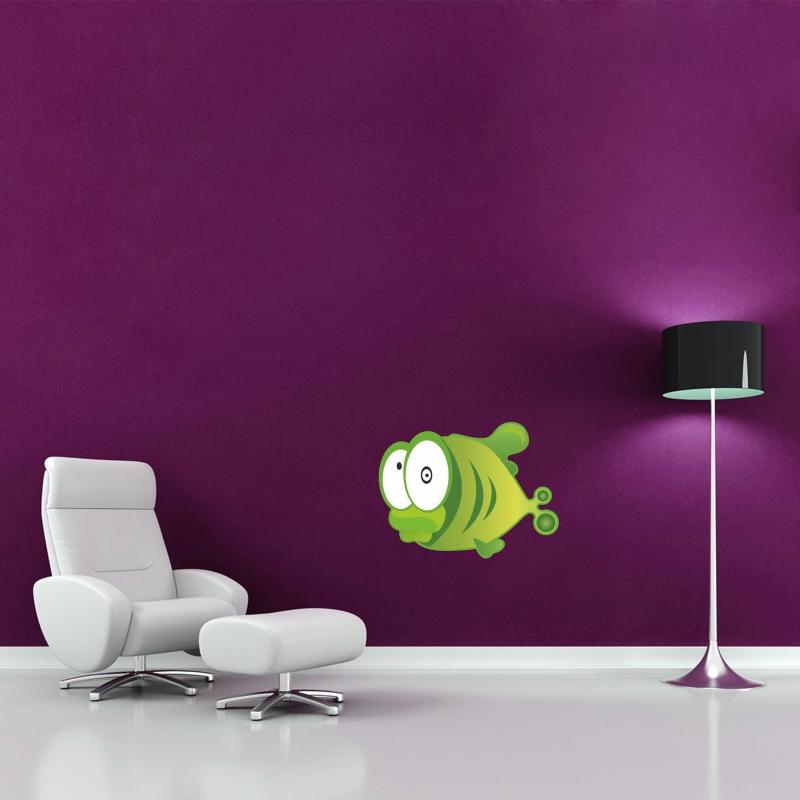 Samolepky na zeď - Barevná samolepka na zeď - Zelená rybka