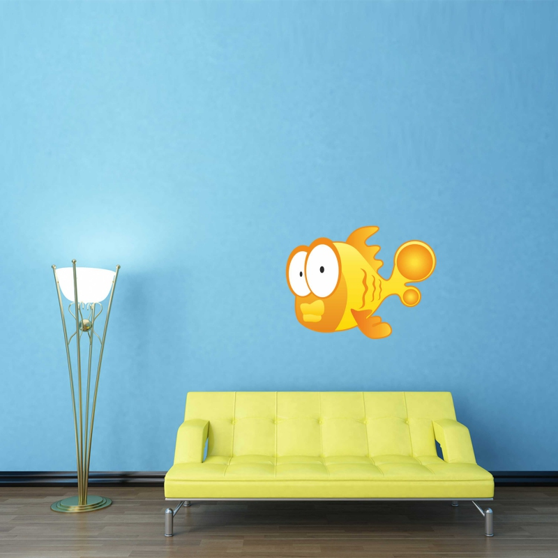Samolepky na zeď - Barevná samolepka na zeď - Žlutá rybka