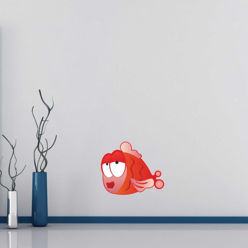 Samolepky na zeď - Barevná samolepka na zeď - Červená rybka