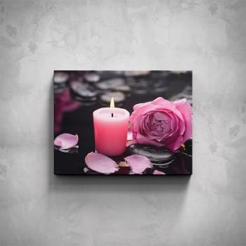 Obraz - Růžová svíčka na kameni