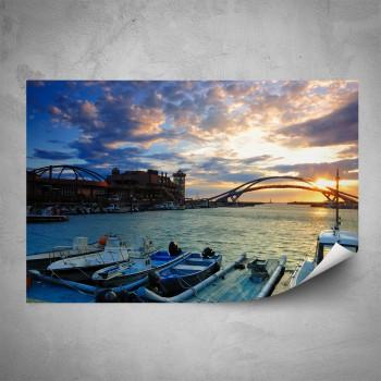 Plakát - Západ slunce v přístavu