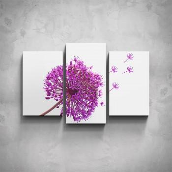 3-dílný obraz - Fialový květ