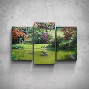 3-dílný obraz - Park s jezírkem
