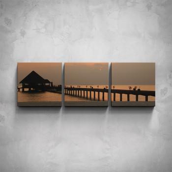 3-dílný obraz - Západ slunce na molu