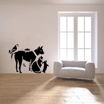 Samolepka na zeď - Domácí mazlíčci
