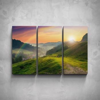 3-dílný obraz - Krajina s duhou