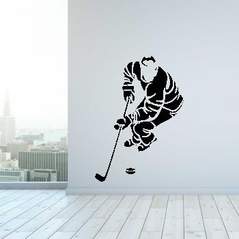 Samolepka na zeď - Hokejista s pukem
