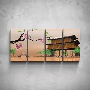 4-dílný obraz - Japonská architektura