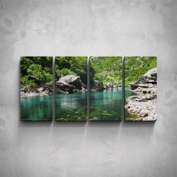 4-dílný obraz - Řeka v horách