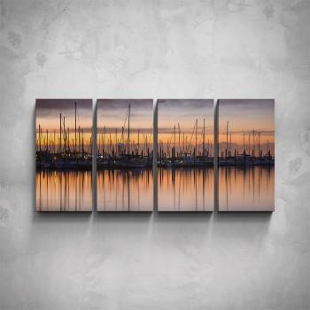 4-dílný obraz - Přístav v západu slunce